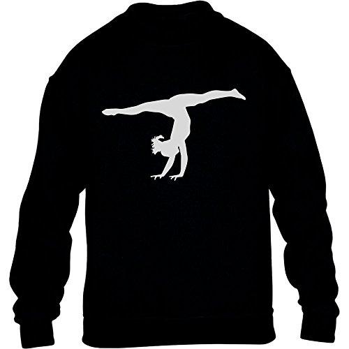 Kunstturnerin Silhuette Fanartikel Geschenk Kinder Pullover Sweatshirt Large Schwarz (Sweatshirt Stolz Kinder)