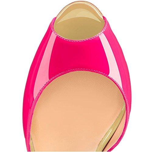 uBeauty Damen Stilettos High Heels Knöchelriemchen Pumps Schnalle Open Toe Übergröße Bändchen Schuhe Rot Schwarz