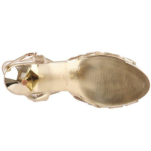 Unze Womens 'Marietta' Stiletto scarpe decorate da sposa Regno Unito Dimensione 3-8 Oro