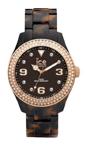 Ice-Watch Ice-Elegant Women's Quartz Watch with Black Dial Analogue Display and Brown Bracelet EL.TRG.U.AC.12