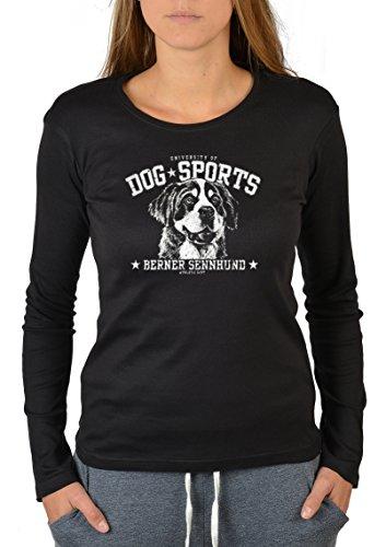 Hundesport Langarm Damen T-Shirt Dog Sport Berner Sennenhund Langarmshirt für Hundebesitzer Longshirt für Frauen Leiberl Dog Hund Schwarz