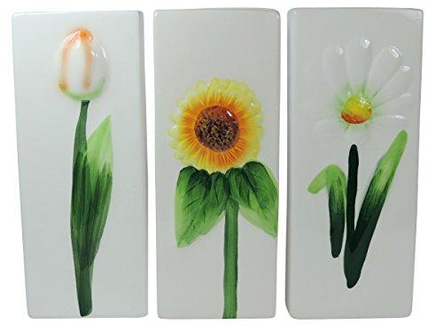 versandfuxx24 - 3 Keramik Wasser - Verdunster Luftbefeuchter für Heizung / Flachheizkörper Motiv: Blume
