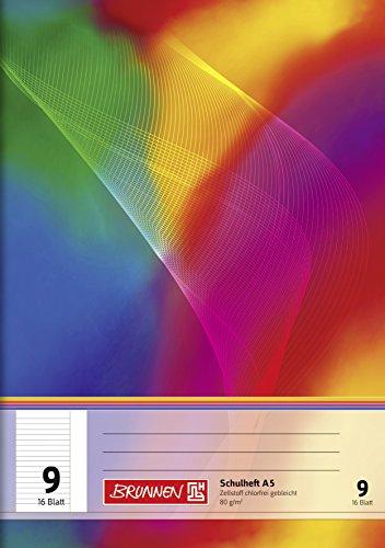 Brunnen 104590902 Schulheft A5 (16 Blatt, liniert, mit Rand, Lineatur 9)