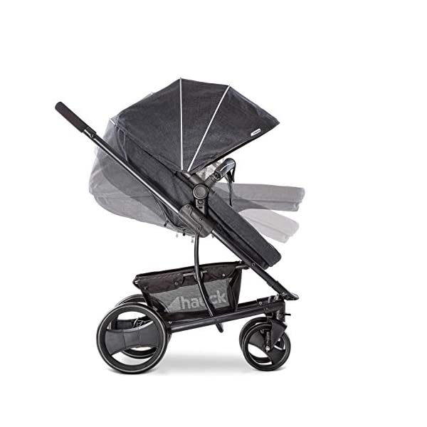 Hauck Pacific 4 Shop N Drive, Lightweight Pushchair Set with Group 0 Car Seat, Carrycot Convertible to Reversible Seat, Footmuff, Large Wheels, From Birth to 25 kg, Melange Charcoal Hauck  15