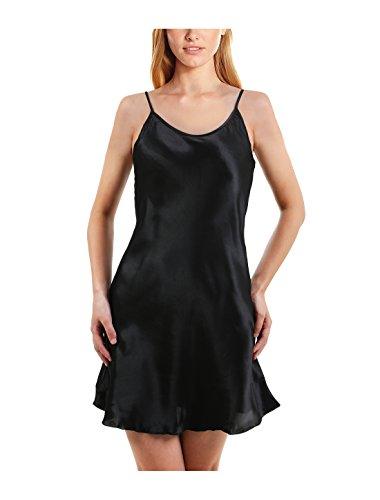 sourcingmap® Damen seidig Übergröße Lotus Blatt Saum Basic Kleid Vollschlupf Camisole (Saum Kleid Slip)