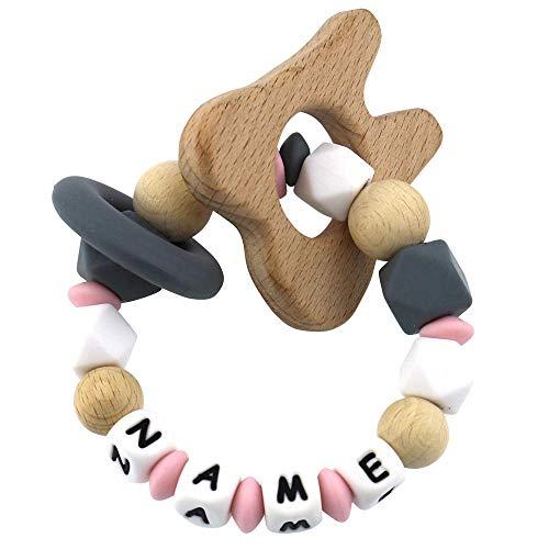 Beißring mit Namen personalisiert aus Silikon und Holz rosa Zahn