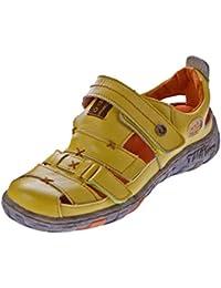 Damen Echt Leder Sandalen Klettverschluss Halbschuhe Leder Schuhe TMA 1667 Sandaletten