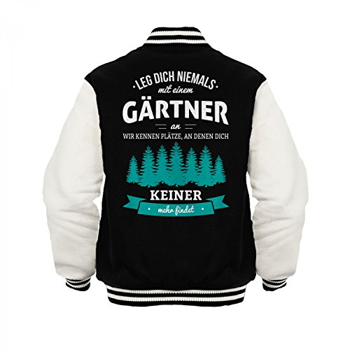 Fashionalarm Herren College Jacke - Leg Dich Niemals mit Einem Gärtner an | Varsity Baseball Jacket | Sweatjacke als Geschenk Idee Beruf, Farbe:schwarz/weiß;Größe:3XL