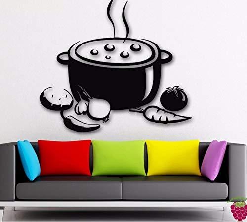 Dalxsh Wandtattoo Vinyl Kunst Aufkleber Room Decor Gemüse Topf Suppe Küche Für Mittagessen Wanddekoration Abnehmbare Wandbild 42X45 Cm