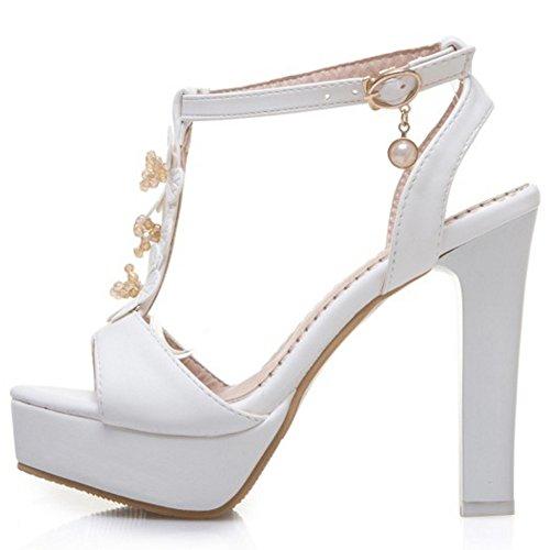 COOLCEPT Damen Mode T-Spangen Riemchen Sandalen Blockabsatz Hoch Plateau Schuhe Mit Blume Gr White