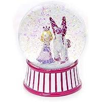 Globo de nieve rosa con princesa y unicornio para niñas por Regalos Mousehouse