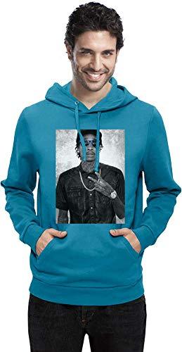 Wiz Khalifa mit blauen Sonnenbrillen with Blue Sunglasses Men Hoodie Sweatshirt Stylish Fashion Fit Custom Apparel by Small