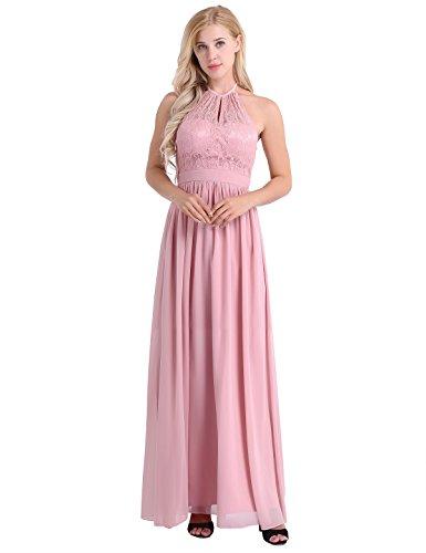 iEFiEL Damen Kleider Elegant festlich Hochzeit Sommer Kleider Lang Chiffon Abendkleid Party Kleid Cocktailkleid Gr. 36-46 Dusty Rose 36-38 (Herstellergröße: 6) (Dusty Brautjungfer Rose Kleider)