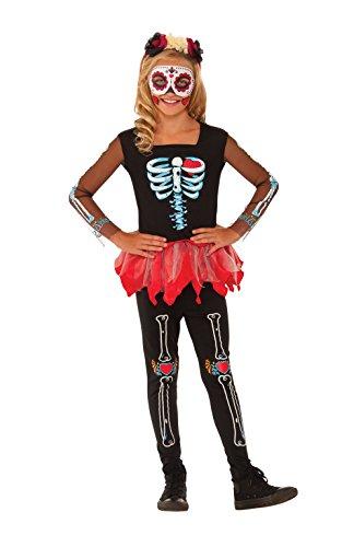 Rubie's Offizielles Mädchen-Kostüm Scared to The Bone Halloween Day of The Dead Kostüm, Größe L