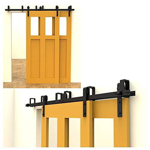 7FT/213cm Schiebetürbeschlag Set, Laufschienen für Schiebetüren Hängeschiene Schiebetürsystem Laufschiene Tür Hardware Bypass Kit, Sliding Door Hardware Bypass 2 Doors (Bypass-türen)