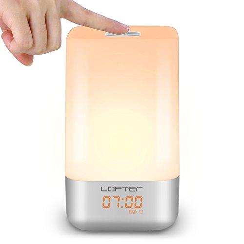 Nachttischlicht Lichtwecker LED Atmosphären Lampe LOFTer Wake Up Licht Touch Panel Aufwachen Beleuchtung mit Sonnenaufgang Simulation Dimmable Licht Farbewechsel 3 Warm Weißlicht Modus 256 RGB 5 Weckertäne Stimmunglampe