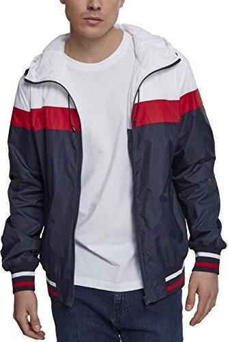 Urban Classics Herren College Windrunner Jacke, Mehrfarbig (Navy/White/Fire Red 01243), Large (Herstellergröße: L)