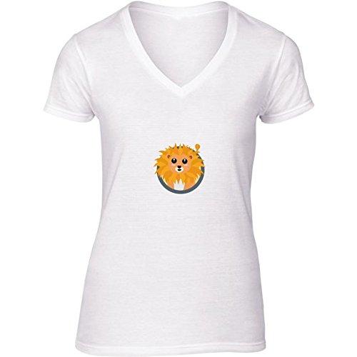 t-shirt-bianco-scollo-a-v-donne-taglia-m-leone-kawaii-con-by-ilovecotton
