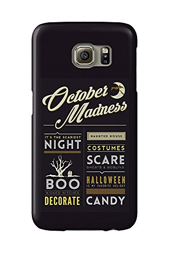 October Madness - Halloween Block Typography (Galaxy S6 Cell Phone Case, Slim Barely There)
