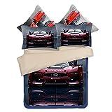 DOTBUY Bettbezug Set, 3 teilig bettwäsche 100% Polyester mikrofaser 3D Sportwagen gemütlich Printing bettbezug-Set. (220 * 240cm, Rot)