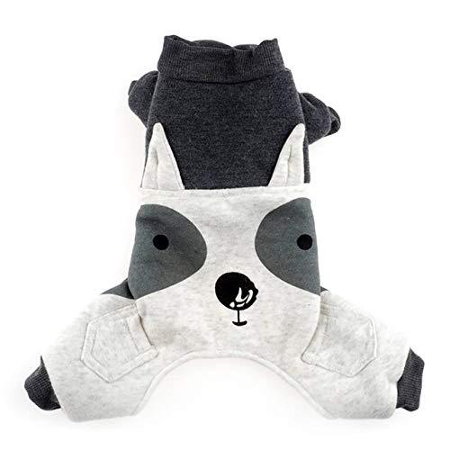 Herbst Winter Haustierkleidung Small Medium Puppy Grey Animal Modeling Parkas aus verdickter Baumwolle für Hunde, Grau, M, China (Hund Parka Small)