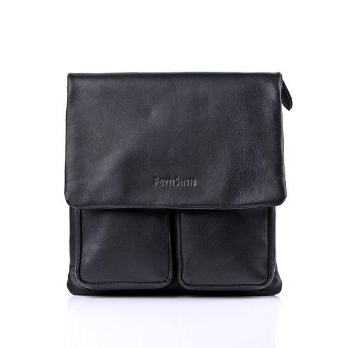 FEYNSINN Umhängetasche echt Leder NIA Schultertasche Handtasche mit Schultergurt Ledertasche schwarz