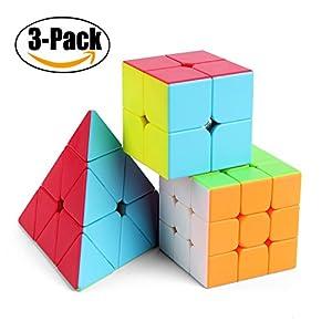 Roxenda Speed Cube Set, Cubo Mágico Puzzle Pack – 2x2x2 3x3x3 Cube, Super-Durable con Colores Vivos, Fácil de Tornear y Liso Jugar