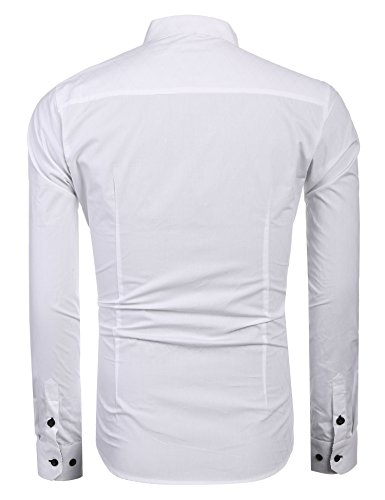 Coofandy Herren Hemd Diamant-Gitter Slim Fit Kariert Kent-Kragen Langarmshirt Businesshemd Weiß