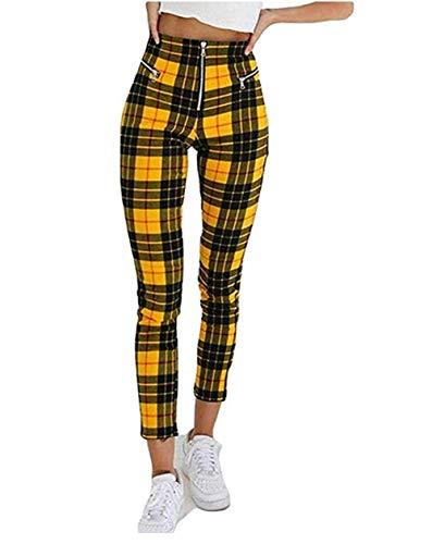 Wide.ling Hosen Damen High Waist Kariert Slim Fit Lang Elegant Freizeithosen Mädchen Vintage Mode Für Business Outdoor (Gelb und schwarz, 2XL) - Wide High Heels