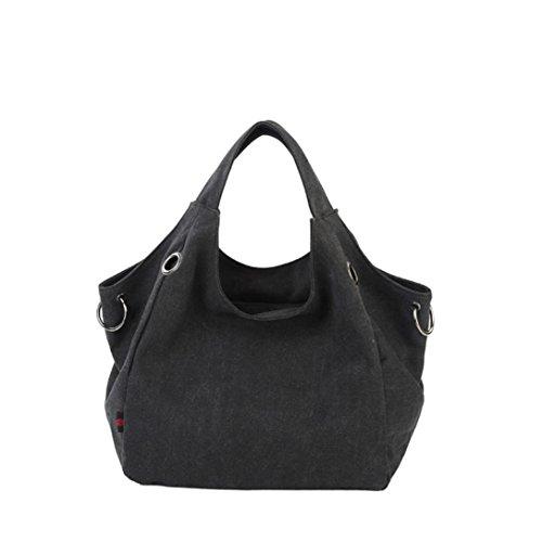 Borse donne tela di alta qualità Shopping Tote di colore della caramella borse a spalla,Fami (nero)