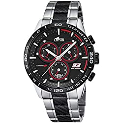 Lotus Marc Marquez Collection 2016 Men's Quartz Watch with Black Dial Chronograph Display and Multicolour Stainless Steel Bracelet 18258/3