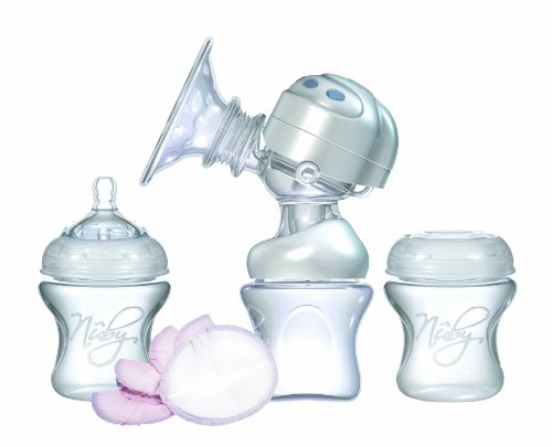 Nuby Rhythm Electric Breast Pump Ultimate Set Honey Coloured Dual Action BPA-Free Breastfeeding Pump Portable Battery/Mains Powered with Bottle, Slow Flow Teat, Travel Steriliser Kit plus Accessories 41DWassyefL
