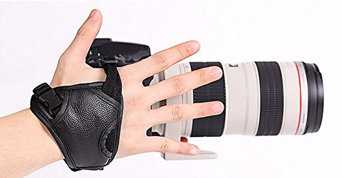 Gurt Kamera Camera Handgelenk Kunstleder Universal rutschfest für Kamera DSLR + SLR Canon Nikon Sony Kameras und Camcorder (schwarz)