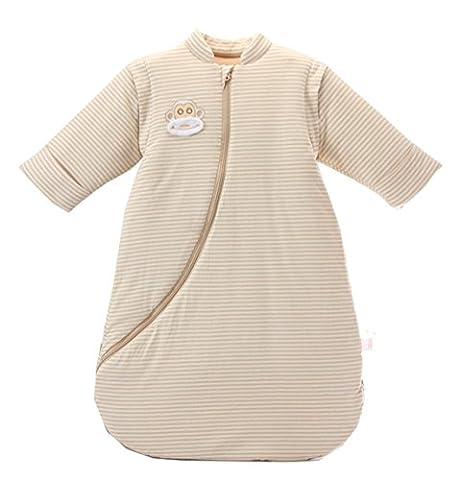 Chilsuessy Baby Winter Schlafsack 3.5 Tog wattierter Kinder Kugelschlafsack mit abnehmbar Langarm aus Bio Baumwolle, Braun-1, L/Koerpergroesse 60-80cm
