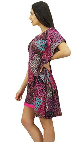 Bimba les femmes imprimé floral court caftan caftan CoverUp vêtements de plage Magenta
