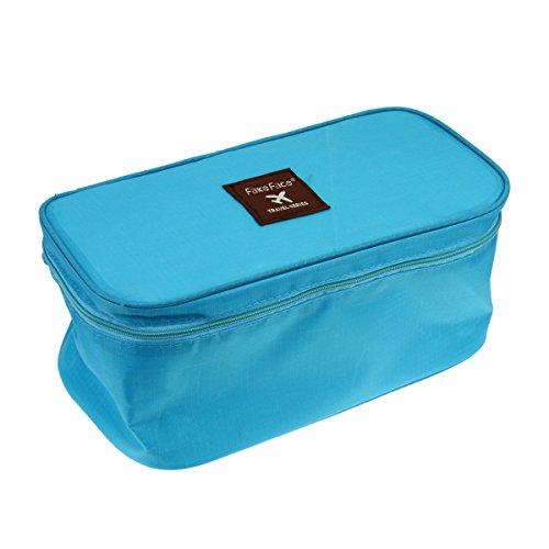FakeFace Sac de Rangement Bra Underwear Sac à Cosmétiques Etanche Toilette Portable Sac de Voyage Mode Beauté Sacs à Main Sac de Maquillage Sac de Stockage pour Femmes Couleur- Bleu