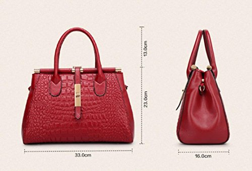 X&L Women's Krokodil Leder Mode Handtasche Mode Diagonale Umhängetasche Brown