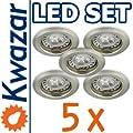 Super Set 5er K-13 Einbaustrahler Power Led 3x1w 35w Gu10 Fassung 230v von Kwazar Leuchte