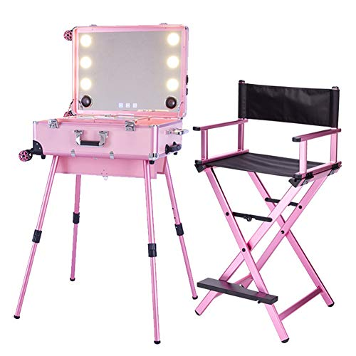 Artiste Cosmétique Roulant Cas Maquillage Chaises Station et Gros Type LED Multimédia Maquillage Boîte Bluetooth Haut-parleurs Roulant Voyage Chariot Beauté Cas avec Jambes 4 Roues,Pink