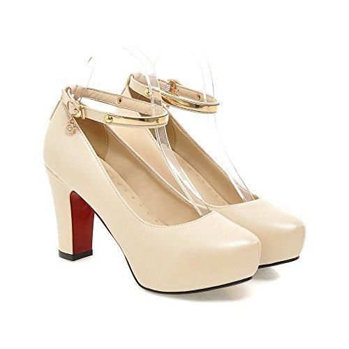 VogueZone009 Femme Matière Souple Rond Fermeture D'Orteil à Talon Haut Boucle Mosaïque Chaussures Légeres Beige