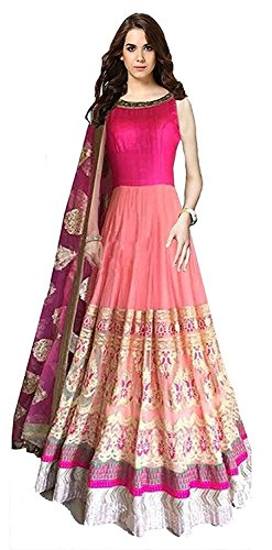 SS Global Women\'s Anarkali Pink Salwar Suit Semi Stitch