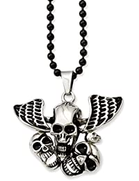 Black Bow Jewellery Company : Stainless Steel Antiqued Skulls Necklace 24 Inch