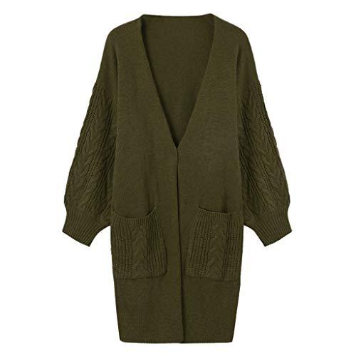 feiXIANG Plus Size Strickjacke Damen V-Ausschnitt Strickpullover Langarm Oberbekleidung Mit Tasche Einfarbig Cardigan (Grün,2XL)