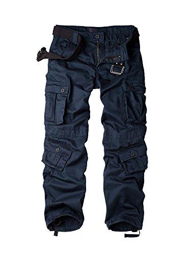 Herren Cargohose aus Baumwolle Multi Taschen Typ Slim ohne Gürtel Gr. W36, #3357 Sapphire Bleu (Slim Baumwolle Gürtel)