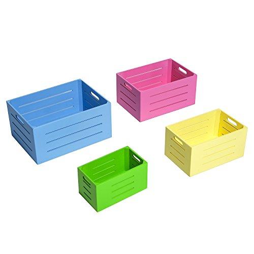 HOMCOM Cajas de Almacenamiento y Organización de Madera para Hogar y Oficina - Conjunto de 4 piezas Apilables de Distintos Colores y Tamaños