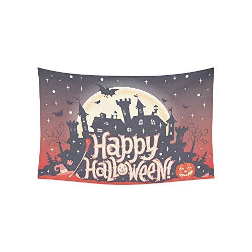 JOCHUAN Tapisserie Happy Halloween Halloween Poster Karte Tapisserien Wandbehang Blume psychedelischen Wandteppich Wandbehang indischen Wohnheim Dekor für Wohnzimmer Schlafzimmer 60 X 40 Zoll