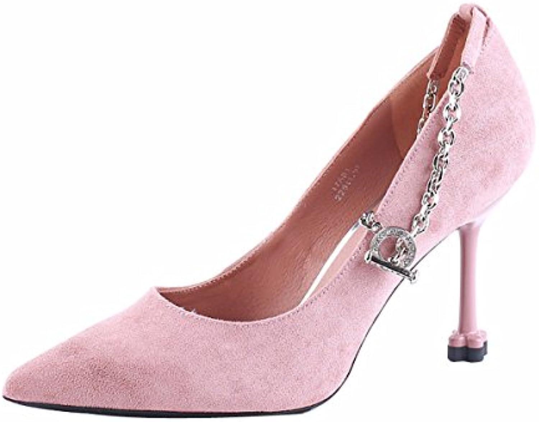 KPHY Zapatos de Mujer/Señaló Zapatos De Tacon Alto 8.5Cm Delgado Shallow Moda Sexy Single Buckle Cat Tacon Zapato...