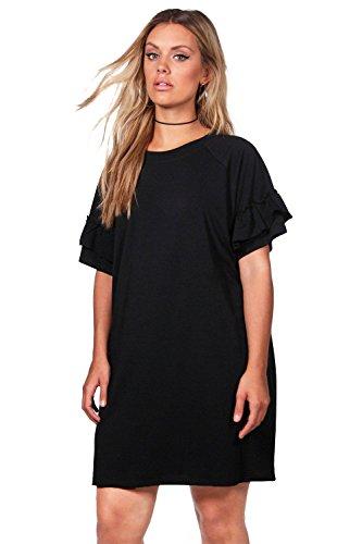 Damen Schwarz Plus Katy T-Shirt-Kleid mit Volant Schwarz