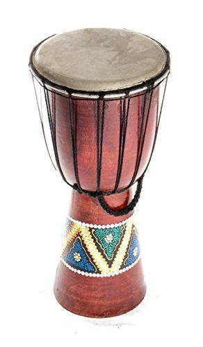 Kascha - 40cm Djembe Trommel Afrika Bongo Buschtrommel - Buntes Muster Braun - Dot Paint handbemalt - Mahagoni Holz