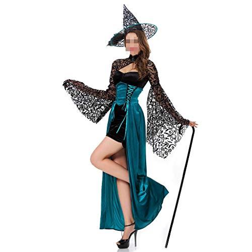 Kostüm Pharao Weiblich - KODH Neuer Erwachsener weiblicher Kostüm-Märchen-weiblicher Magier-dünner Langer Rock-Hexe-Kostüm-Rollenspiel-Partei-Rock (Color : Green)